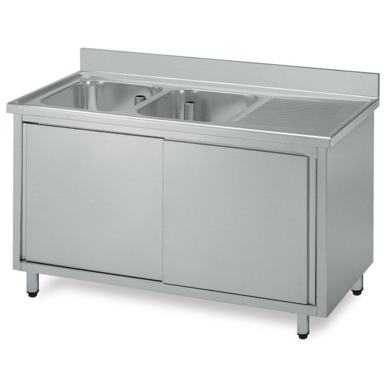 Lavello armadiato acciaio inox due vasche gocciolatoio dx for Lavello acciaio