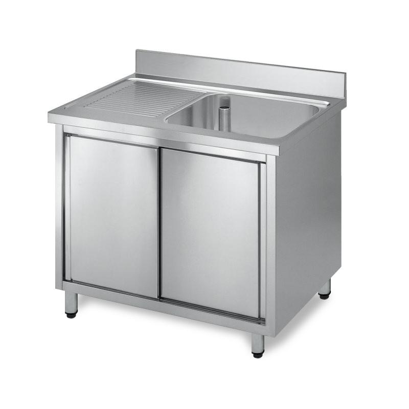 Lavatoio acciaio inox armadiato, 1 vasca gocciolatoio sx
