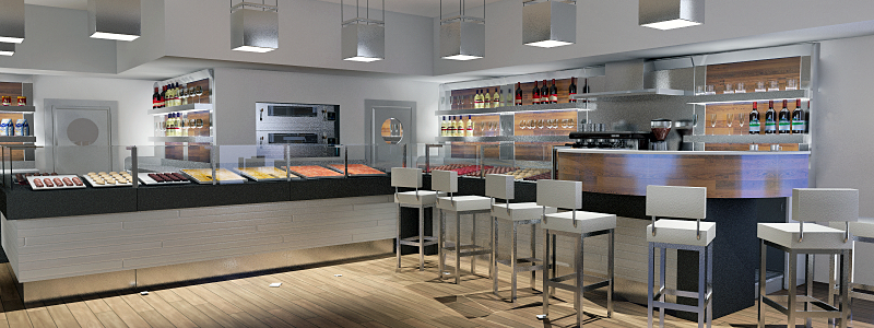 Arredamento panificio pizzeria bar tavola calda for Arredamento angolo bar