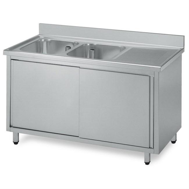Lavello armadiato acciaio inox due vasche, gocciolatoio Dx