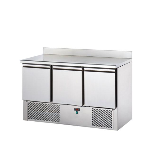tavolo frigo saladette acciaio inox alzatina, 3 porte