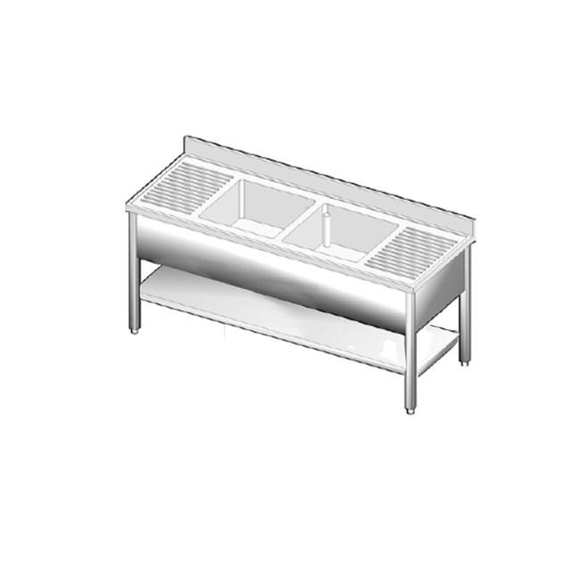Lavatoio acciaio inox per ristorazione professionale due - Tavoli inox per ristorazione ...