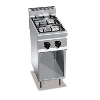 Cucina professionale 2 fuochi a gas su mobile 9 5kw - Manutenzione cucina a gas ...