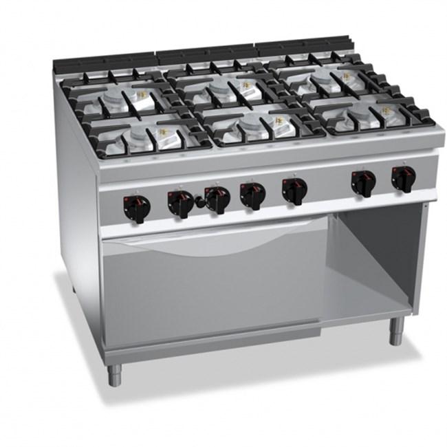 Cucina Professionale 6 Fuochi Gas Con Forno A Gas