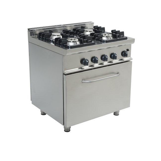 Cucina Professionale Gas 4 Fuochi Con Forno A Gas Ad Accensione Manuale