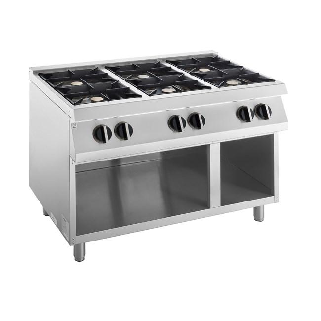 Cucina Professionale 6 Fuochi Gas 42 Kw
