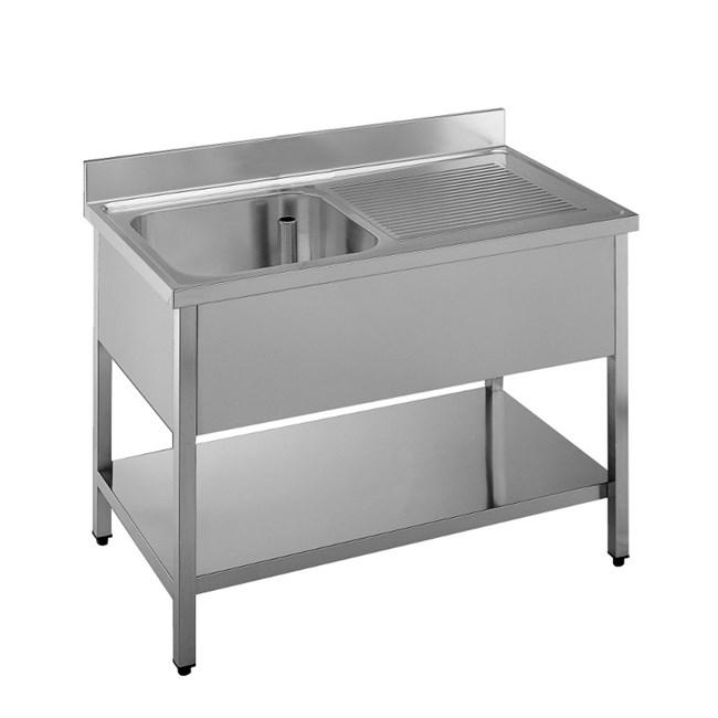Lavello professionale acciaio inox 1 vasca gocciolatoio dx for Lavandino acciaio inox
