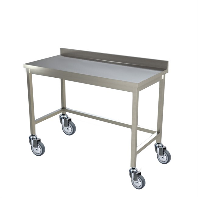 Tavolo inox con ruote professionale con alzatina