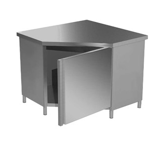 Tavolo inox armadiato con ante battenti alzatina e 3 cassetti a sinistra - Alzatina cucina acciaio ...