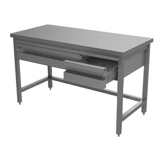 Tavolo inox professionale con cassetti e ripiano - Tavoli inox per ristorazione ...