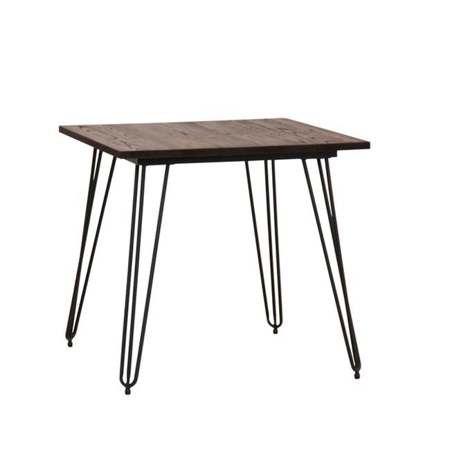 Tavolo Bar Con Gambe A Forcina Di Metallo E Piano In Legno