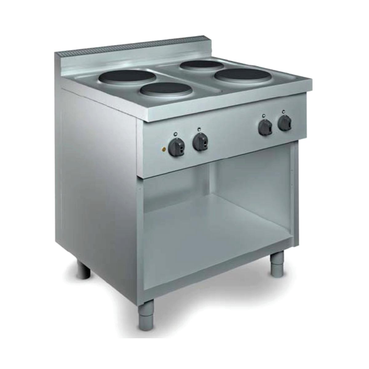 Cucina professionale 4 piastre elettriche su mobile - Cucine con piastre elettriche ...