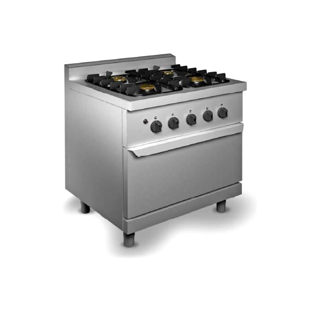 Cucina professionale 4 fuochi con forno a gas - Prezzi cucine professionali ...