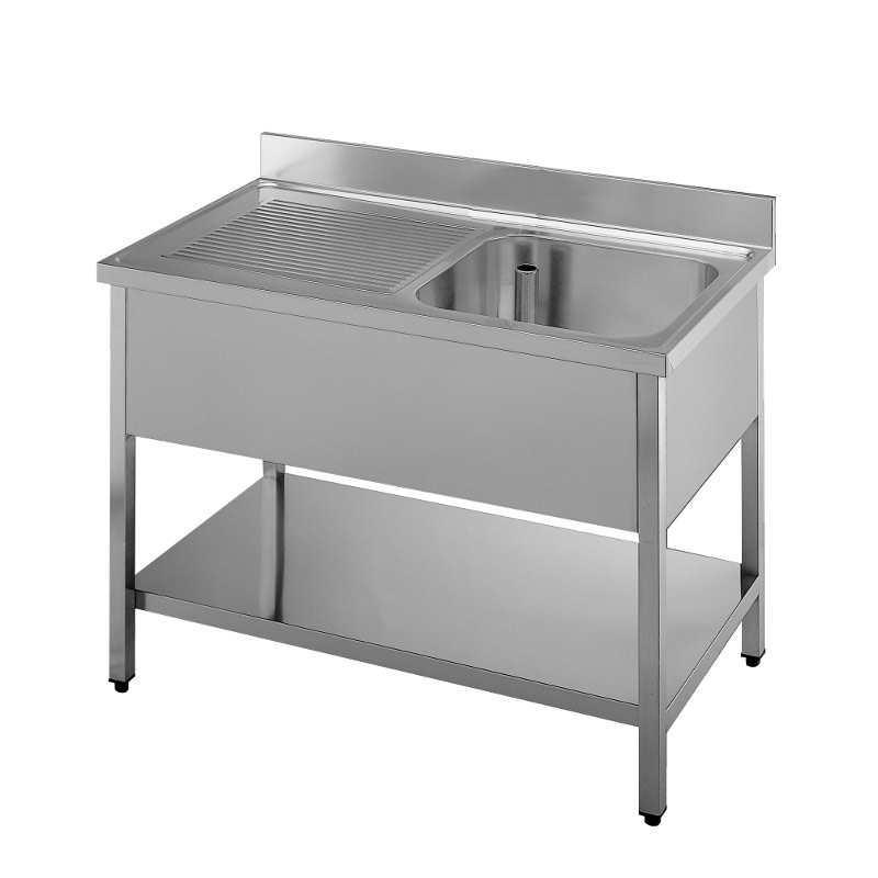 Lavatoio acciaio inox una vasca, gocciolatoio sx,ripiano,lavello professionale