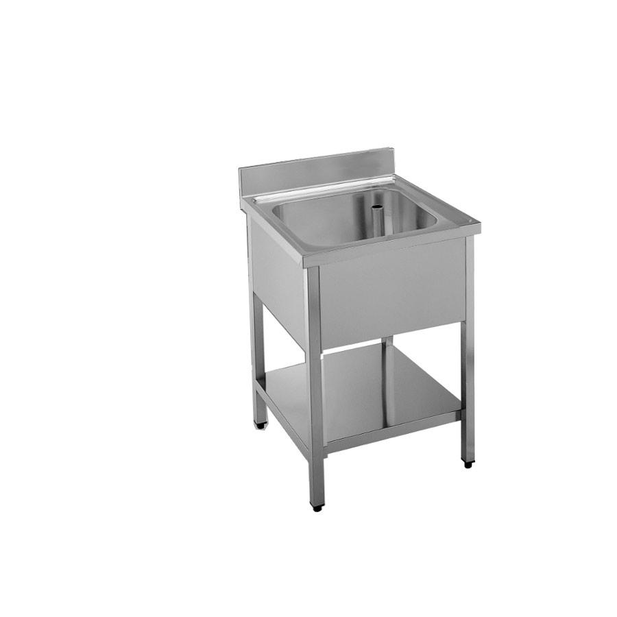 Lavatoio Professionale lavello acciaio inox una vasca e ripiano