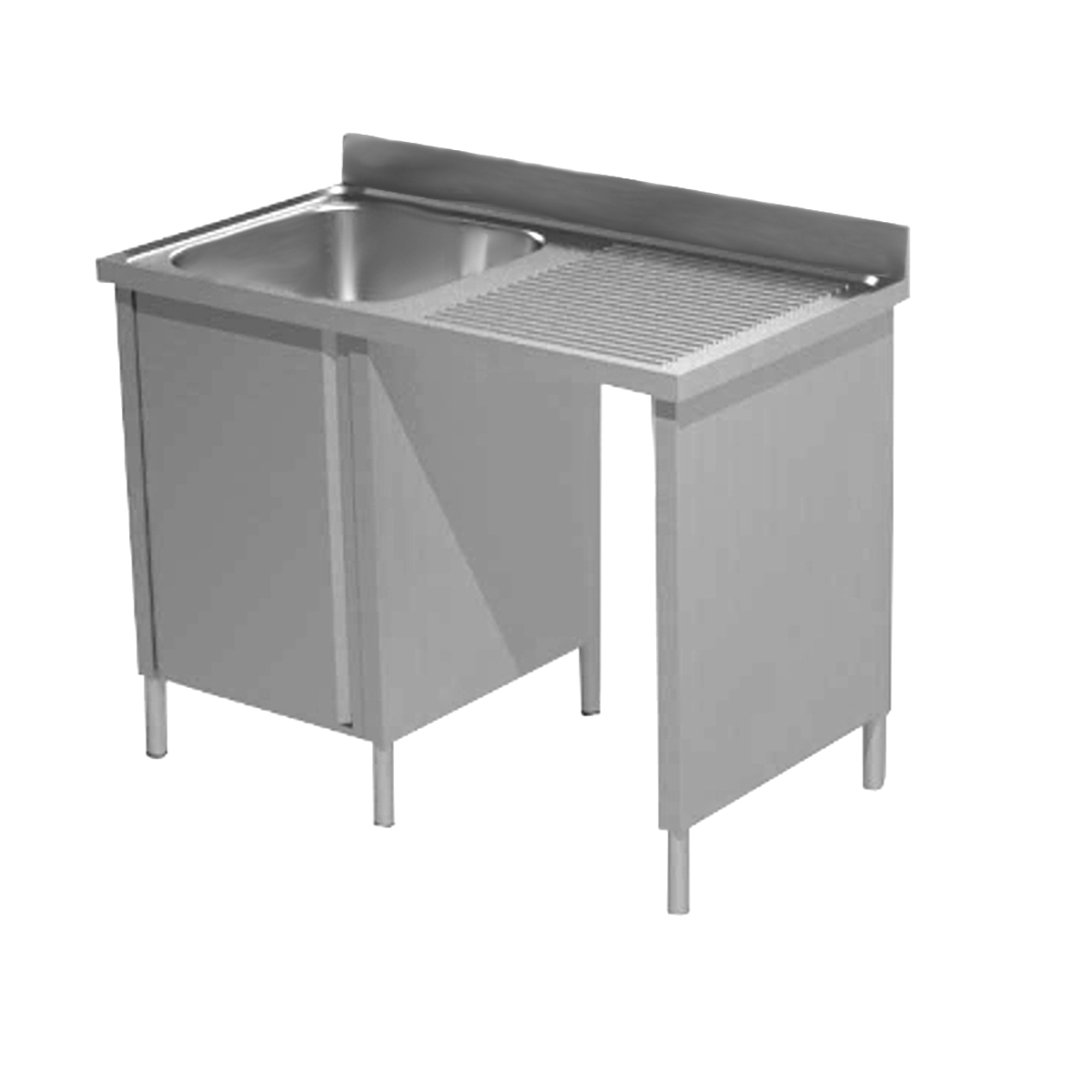 Lavatoio armadiato acciaio inox una vasca con vano pattumiera dx