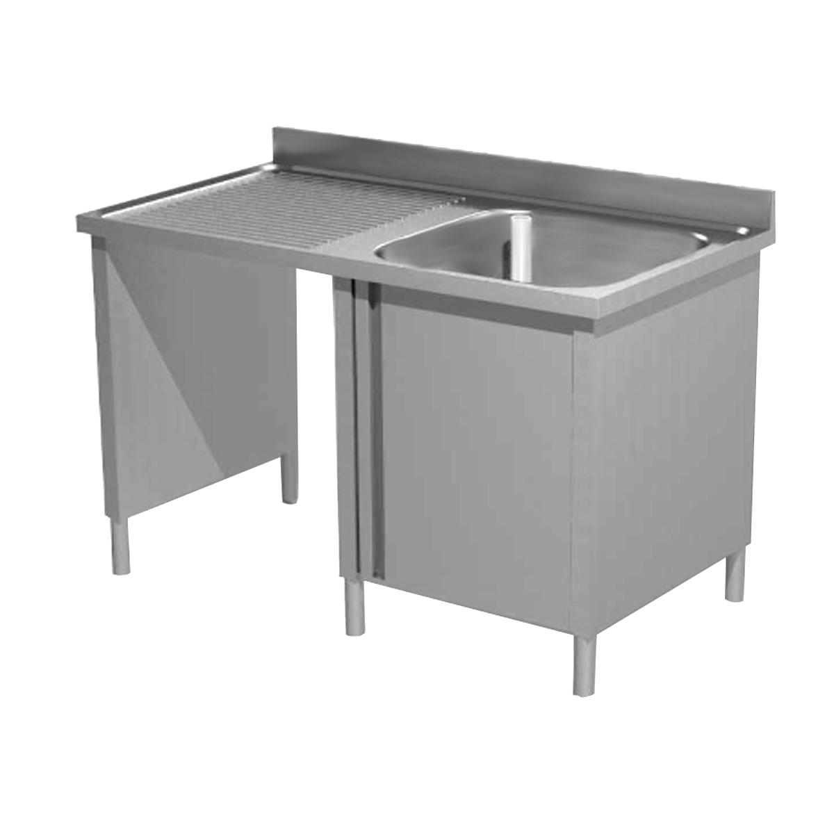 Lavatoio armadiato acciaio inox una vasca con vano pattumiera sx
