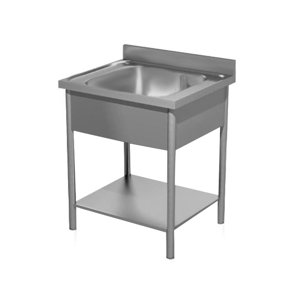 Lavatoio gambe tonde acciaio inox una vasca e ripiano for Arredamento acciaio inox
