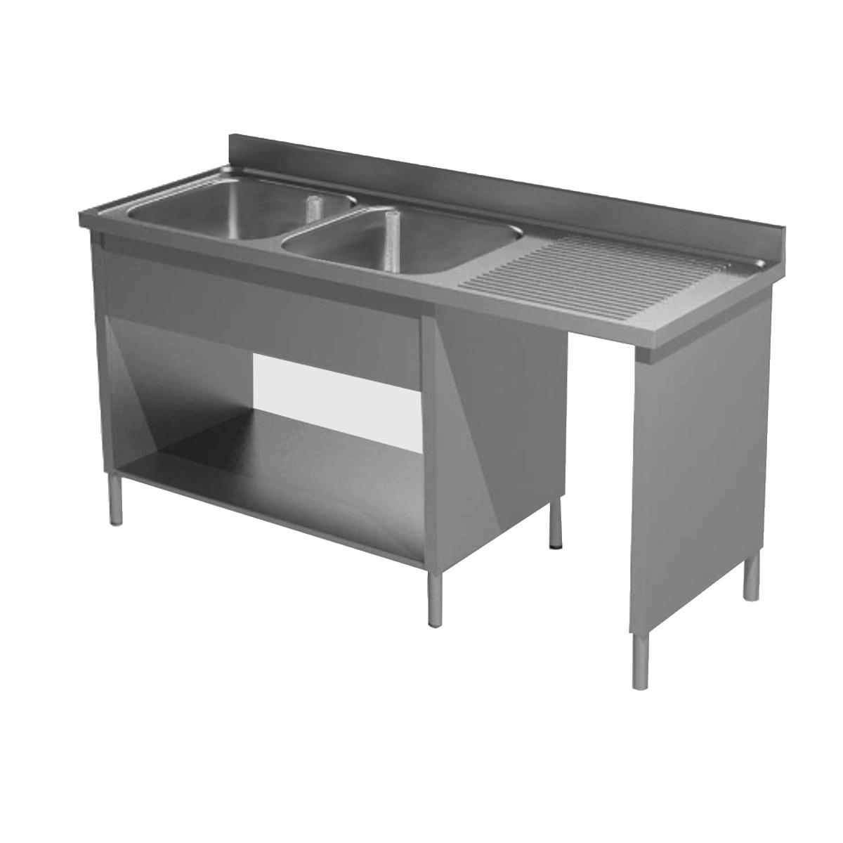 Lavatoio su fianchi acciaio inox due vasche con vano for Arredamento acciaio inox