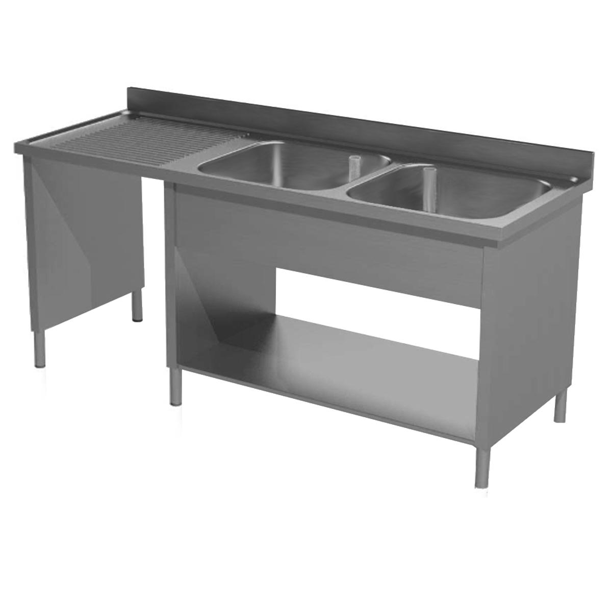 Lavatoio su fianchi acciaio inox due vasche con vano pattumiera sx