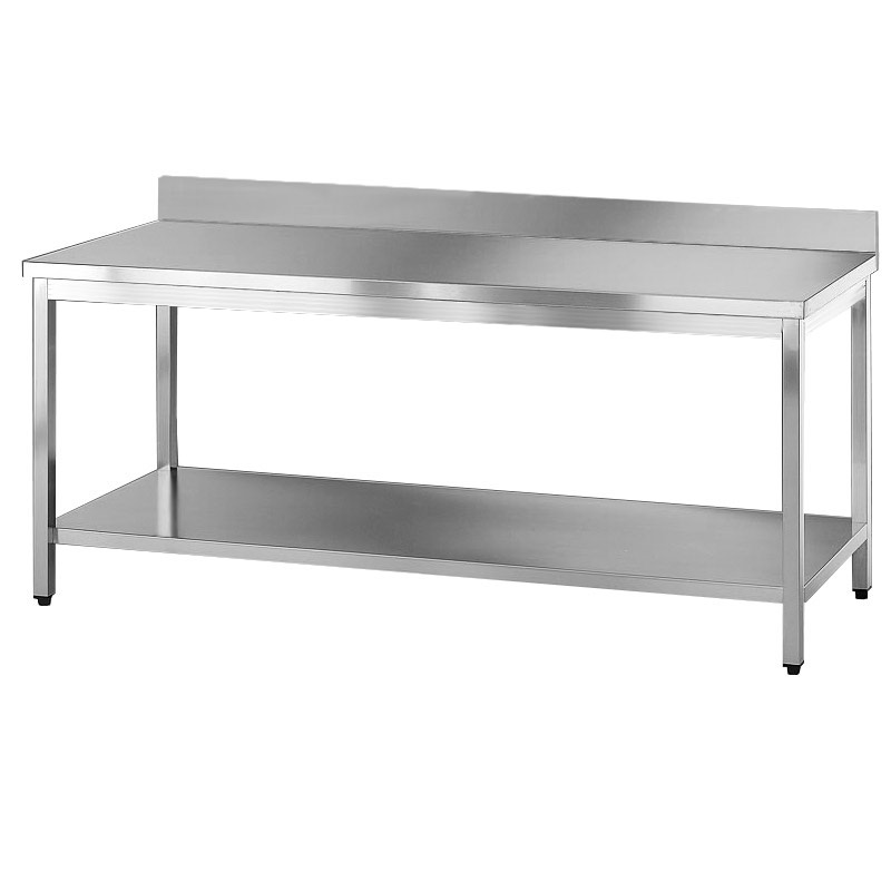 Tavolo acciaio inox professionale con ripiano e alzatina - Tavoli in acciaio inox ...