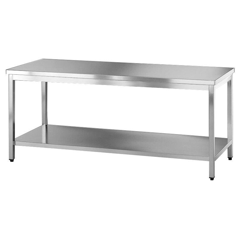 Tavolo acciaio inox con ripiano - Tavoli inox per ristorazione ...