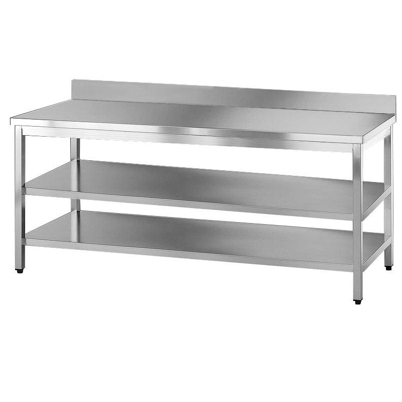 Tavolo acciaio inox due ripiani e alzatina - Alzatina cucina acciaio ...