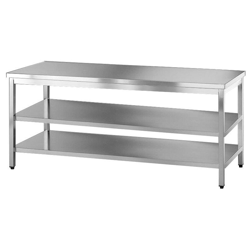 Tavolo acciaio inox con due ripiani for Arredamento acciaio inox