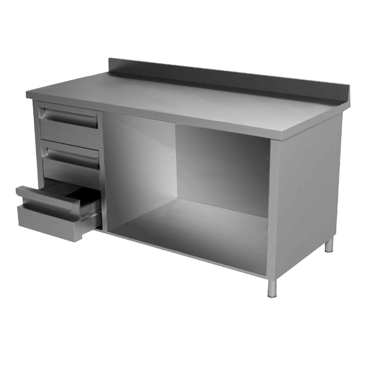 Tavolo inox aperto con 3 cassetti a sinistra e alzatina