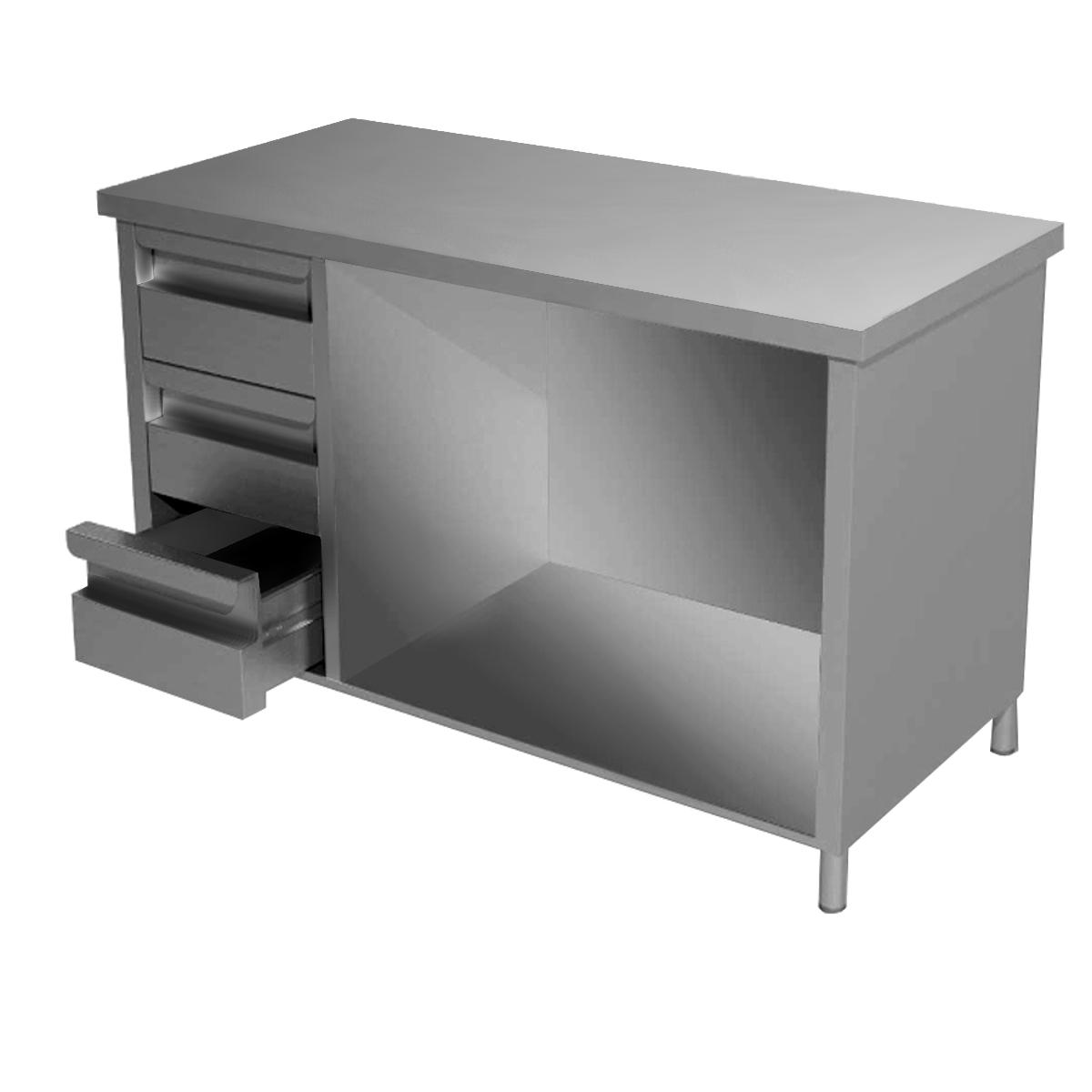 Tavolo Acciaio inox aperto con 3 cassetti a sinistra