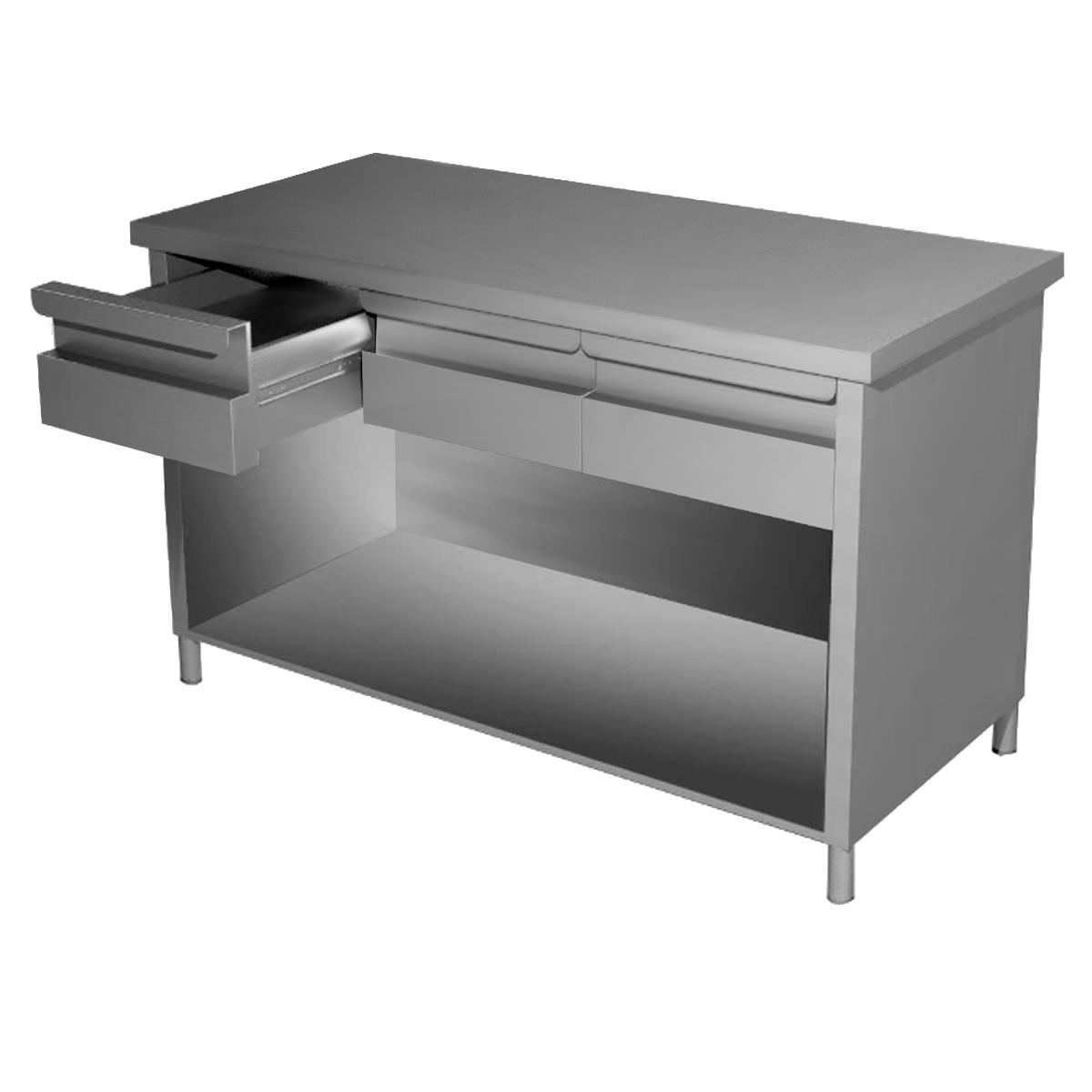 Tavolo inox professionale a giorno con cassetti - Tavoli in acciaio inox ...