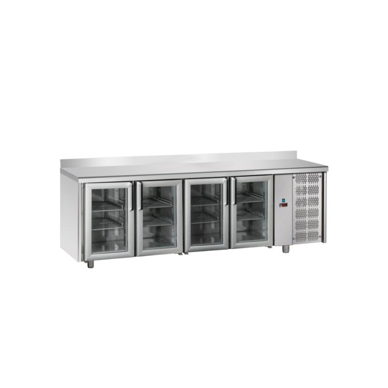 Tavolo refrigerato TN 4 porte in vetro, con alzatina M