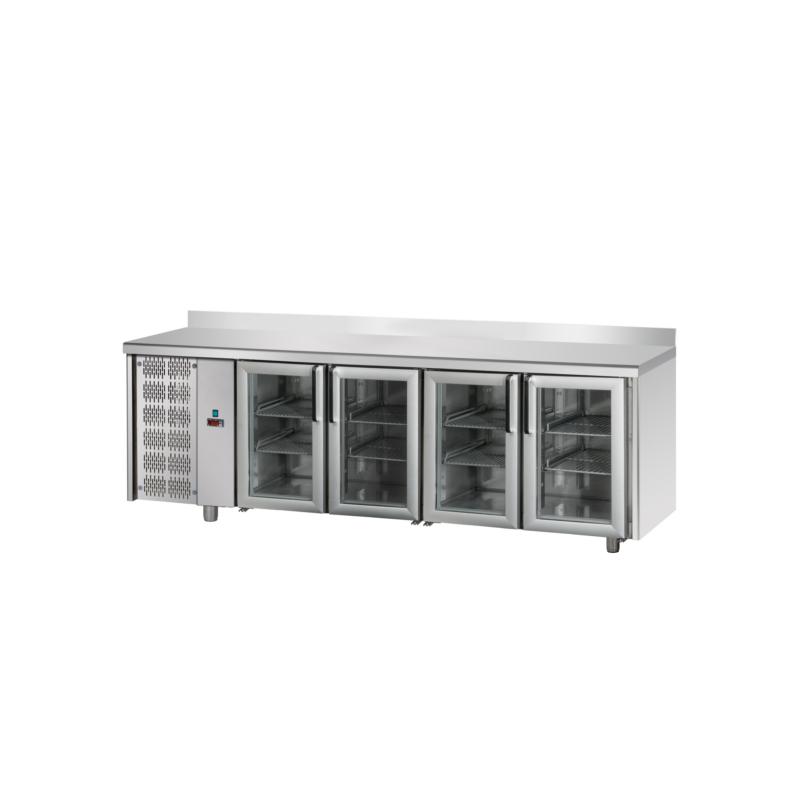 Tavolo refrigerato TN 4 porte in vetro, con alzatina ...