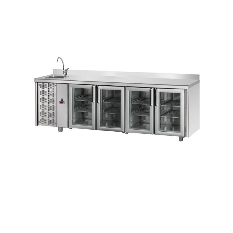 Tavolo refrigerato TN 4 porte in vetro, lavello alzatina ...