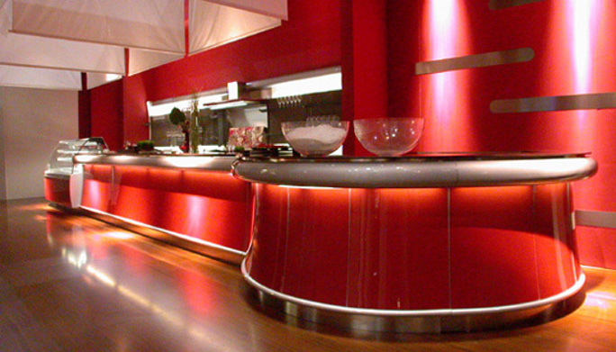 Arredo bar laccato rosso for Arredamento moderno bar